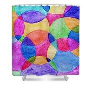 Watercolor Circles Abstract Shower Curtain
