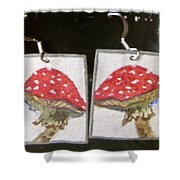 Watercolor Earrings Amanita Shower Curtain
