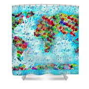 Watercolor Splashes World Map Shower Curtain