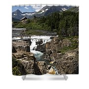 Waterfall At Many Glacier Shower Curtain