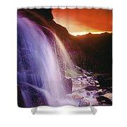 Waterfall At Sunset, Bugaboo Glacier Shower Curtain