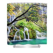 Waterfall In The Plitvice Lakes National Park Shower Curtain