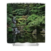 Waterfall - Portland Japanese Garden - Oregon Shower Curtain