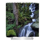 Waterfall Pouring Down Mountainside Shower Curtain