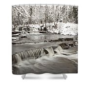Waterfall With Fresh Snow Thunder Bay Shower Curtain by Susan Dykstra