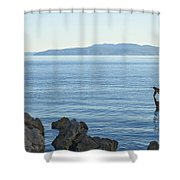 Waterfront Of Opatija Showing Statue Shower Curtain