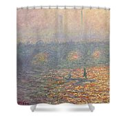 Waterloo Bridge Shower Curtain by Claude Monet