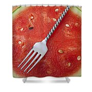 Watermelon And Fork Shower Curtain