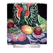 Watermelon Swan Shower Curtain