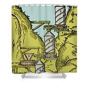 Watermill Reversed Archimedean Screw Shower Curtain