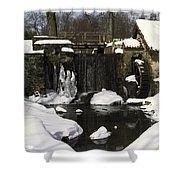Waterwheel And Stream In Winter Shower Curtain