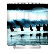 Wating For Take Off Shower Curtain