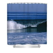 Wave Breaking Right On The Beach At 17 Shower Curtain