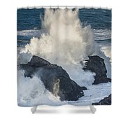 Wave Meets Seastack Shower Curtain