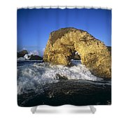 Wave Splashing Against Natural Arch Shower Curtain