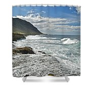 Waves Breaking On Shore 7876 Shower Curtain