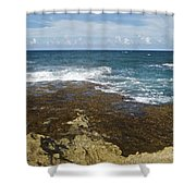 Waves Breaking On Shore 7930 Shower Curtain