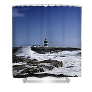 Waves Crash Against The Wexford Coast Shower Curtain