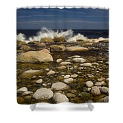 Waves Hitting Rocks, Anchor Brook Shower Curtain