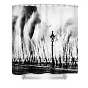 Waves Smashing Seawall, 1938 Shower Curtain
