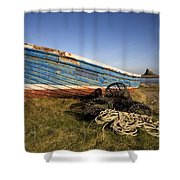 Weathered Fishing Boat On Shore, Holy Shower Curtain