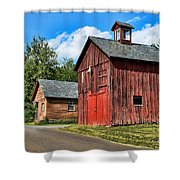 Weathered Red Barn Shower Curtain