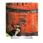 Weathered Red Oil Bucket Shower Curtain