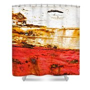 Weathered With Red Stripe Shower Curtain by Silvia Ganora