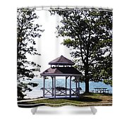 Wedding Gazebo By Lake Erie At Evangola State Park Shower Curtain