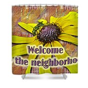 Welcome New Neighbor Card - Bee And Black-eyed Susan Shower Curtain