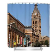 Wells Street Theater District And City Hall Shower Curtain
