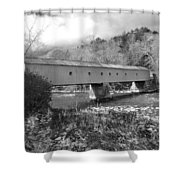 West Cornwall Connecticut Covered Bridge Black And White Shower Curtain
