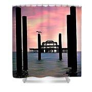 West Pier Silhouette Shower Curtain