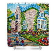 Westmount Birthday Party-montreal Urban Scene-little Girls Playing Shower Curtain