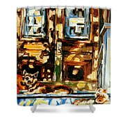 Westmount Porch In Early Autumn Montreal City Scene  Shower Curtain