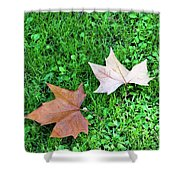 Wet Leaves On Grass Shower Curtain