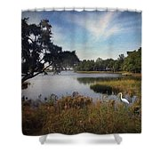 Wetlands - Oil Painting Effect Shower Curtain