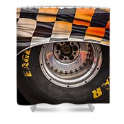 Wheel And Chequered Flag Shower Curtain