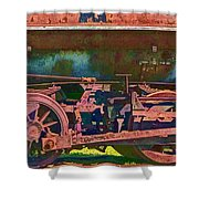 Wheels Of An Old Vintage Train Engine No.1026 Shower Curtain