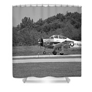 Wheels Up Black And White Shower Curtain