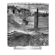 Where Does The Story End Monochrome Shower Curtain