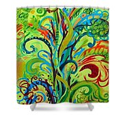 Whirlygig Tree Shower Curtain by Genevieve Esson