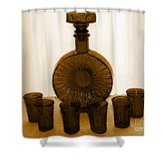 Whiskey Decanter In Sepia Shower Curtain
