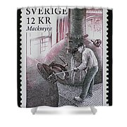 Whisky Postage Stamp Print Shower Curtain