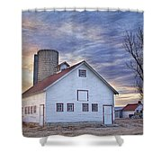 White Barn Sunrise Shower Curtain