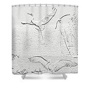 White Birds Shower Curtain