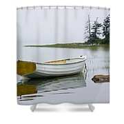 White Boat On A Misty Morning Shower Curtain