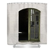 White Brick And Broken Window Shower Curtain