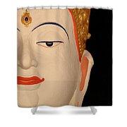 White Buddha Face Shower Curtain