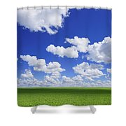 White Clouds In The Sky And Green Meadow Shower Curtain